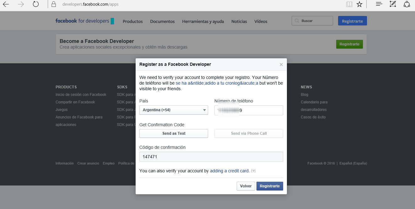 Ingresa al Developers de Facebook