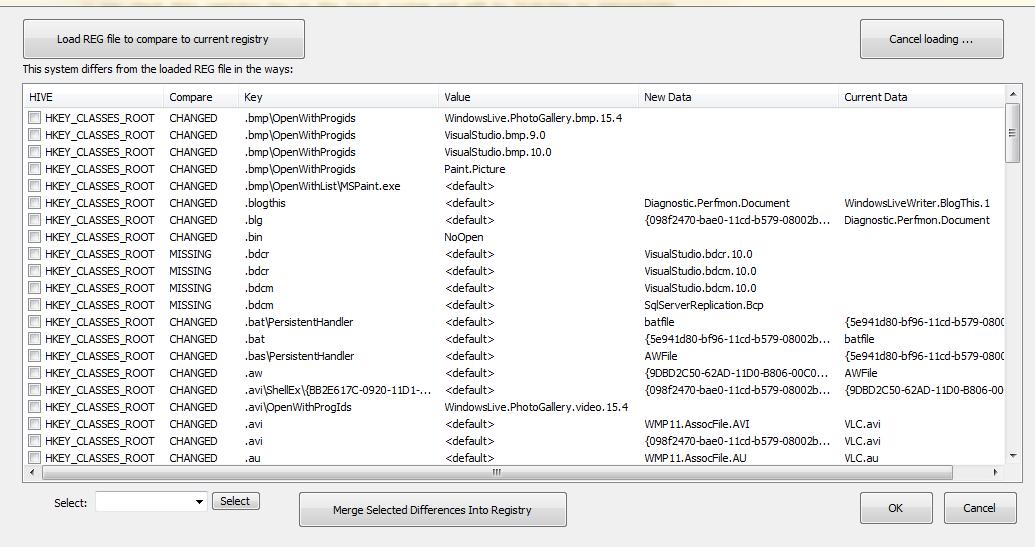 Comparar el archivo REG con tu registro