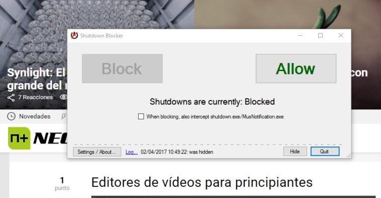 Una plataforma que bloquea el reinicio o apagado de procesos o programas