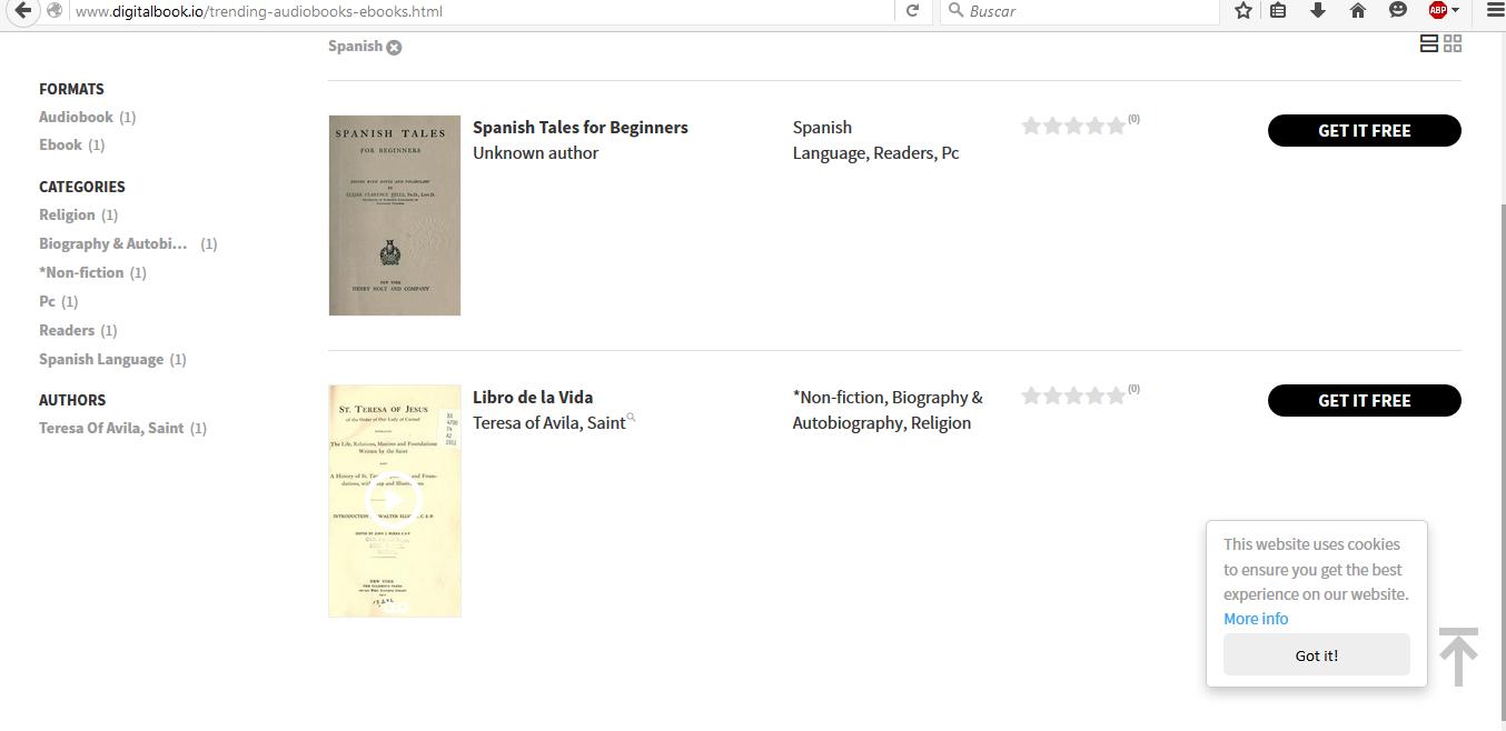 Pocos libros en español