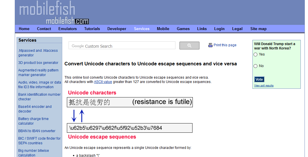 http://www.mobilefish.com/services/unicode_escape_sequence_converter/unicode_escape_sequence_converter.php