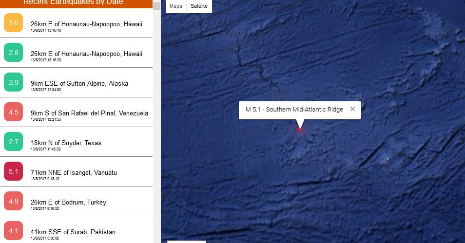 Página Web para ver terremotos