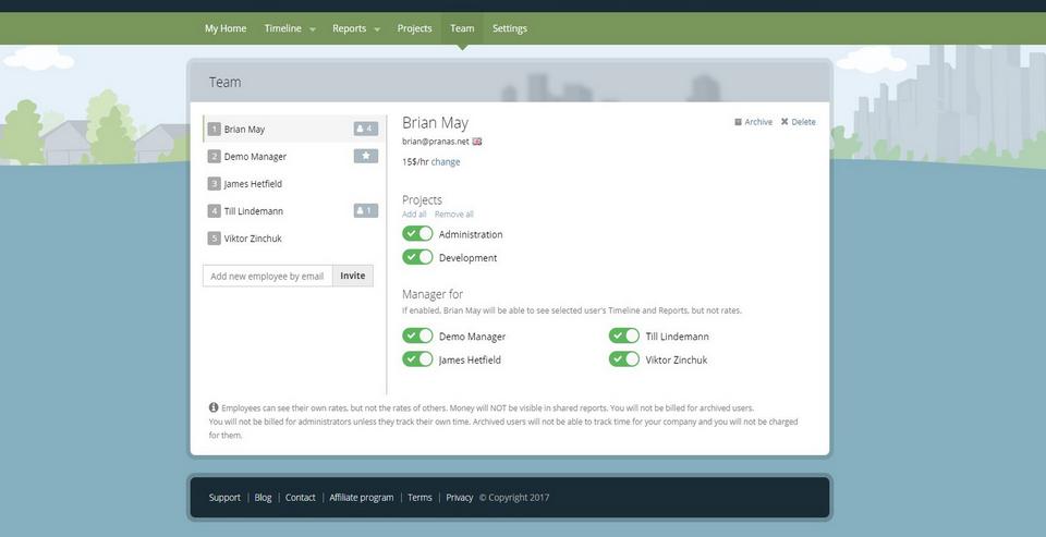 Panel de la página Web de la plataforma