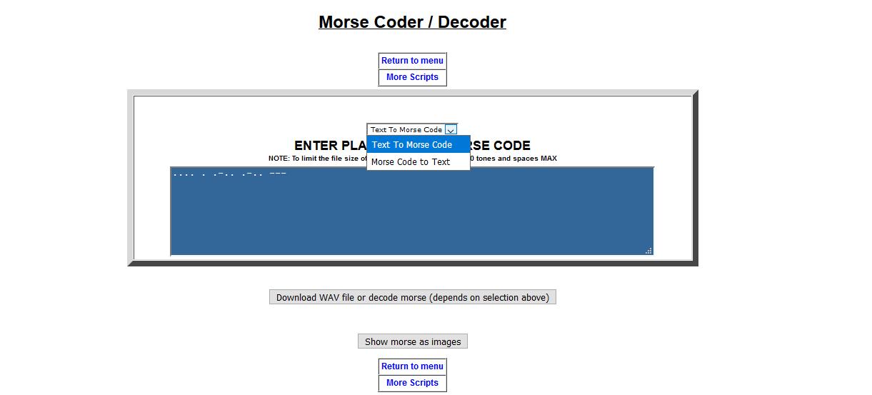 Podrás descargar un archivo WAV con el código Morse