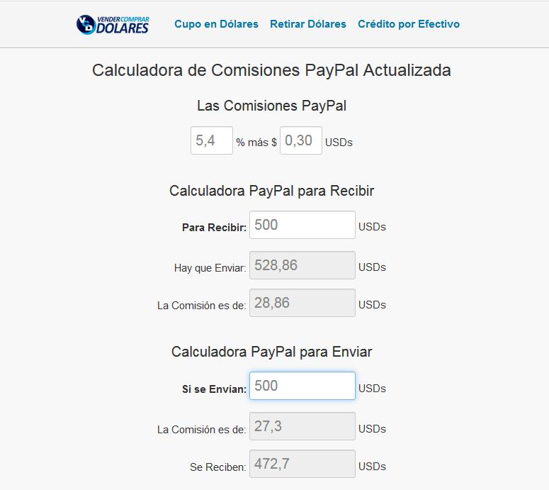 calcular la comisión de PayPal