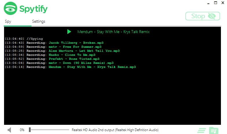 Grabar canciones de Spotify