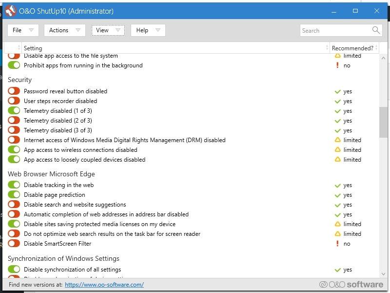 Herramienta antiespionaje para Windows 10