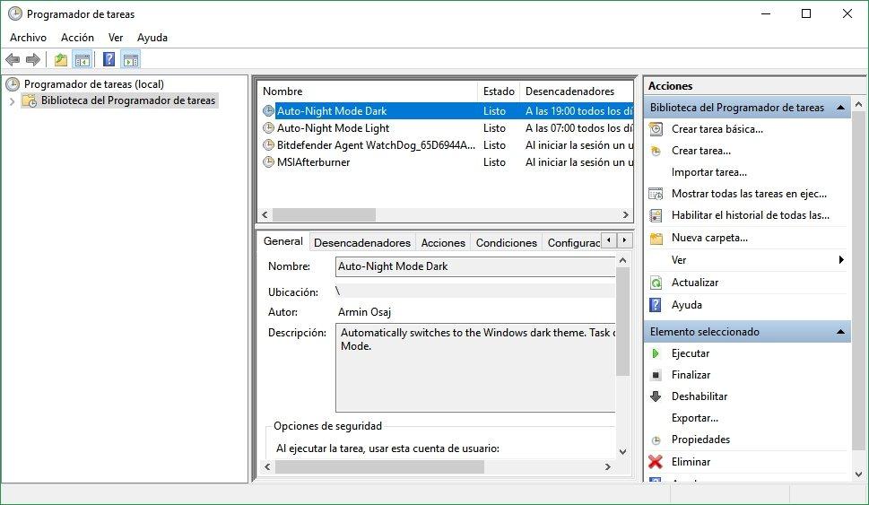cambiar automáticamente a Modo Oscuro en Windows 10