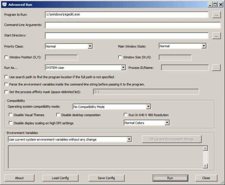 Cómo ejecutar un programa con parámetros avanzados