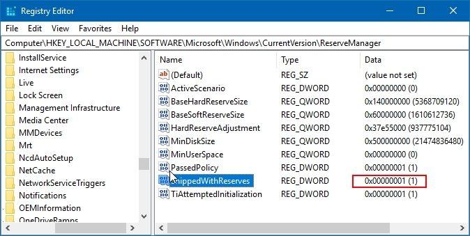desactivar el espacio reservado en Windows 10