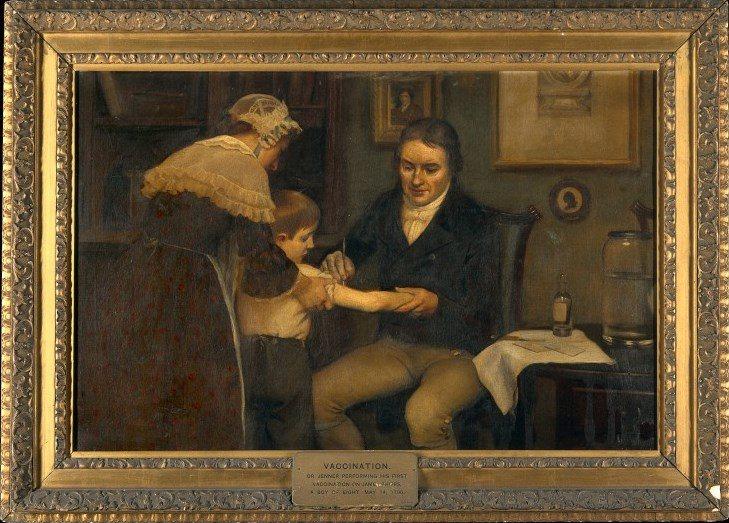 Jenner vacunando al joven Phipps, 14 de mayo de 1796