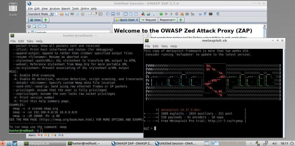 Metasploit, ZAP y namp, apenas una parte del paquete en RedHunt