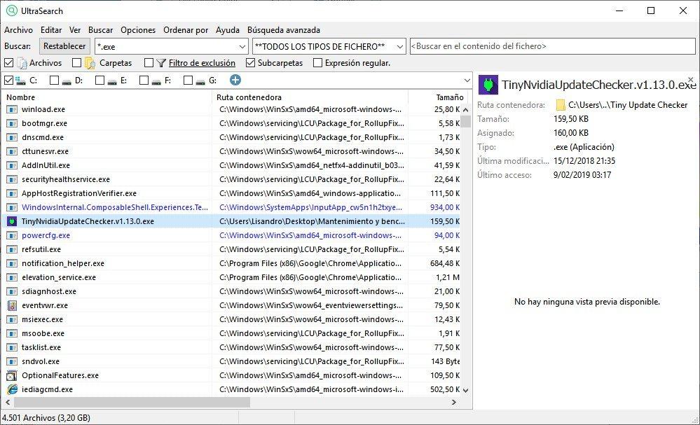 El preview muestra detalles del archivo, y de ser posible, su contenido