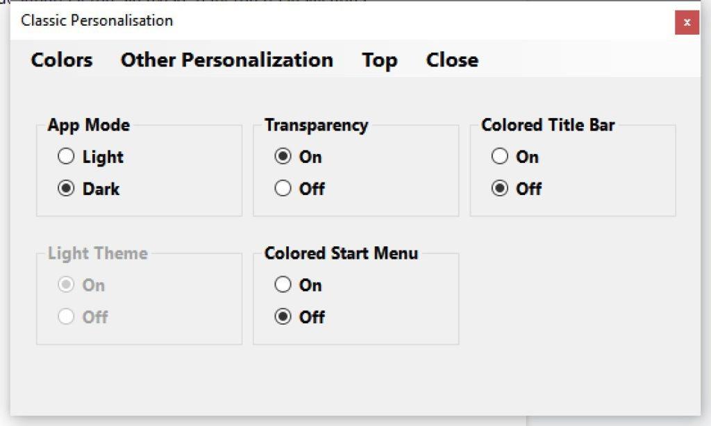 Transparencia y colores de la barra de tareas, sus opciones secundarias