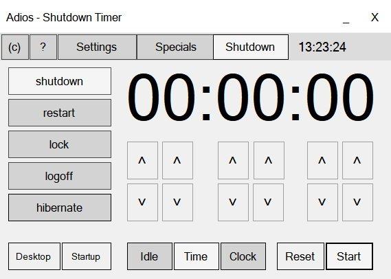 La interfaz de Adios - Shutdown Timer. No te preocupes, es fácil de usar.