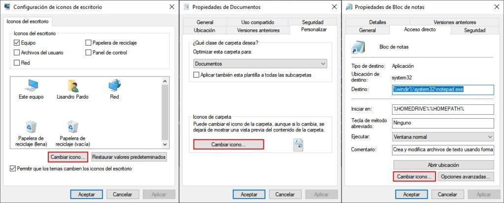 Cambio de iconos en elementos básicos del escritorio, carpetas y accesos directos