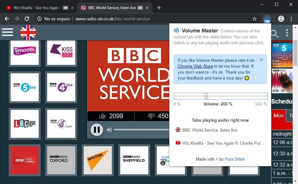 cambiar el volumen en cada pestaña de Chrome