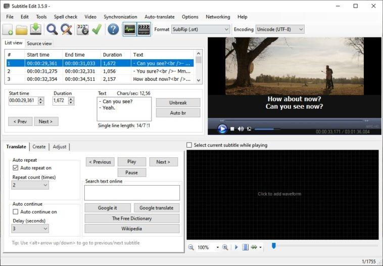 editar y sincronizar subtítulos