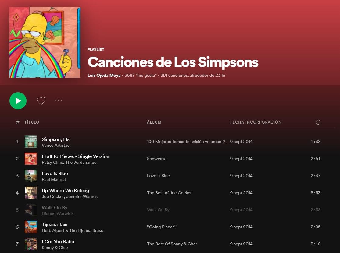 canciones de los simpsons