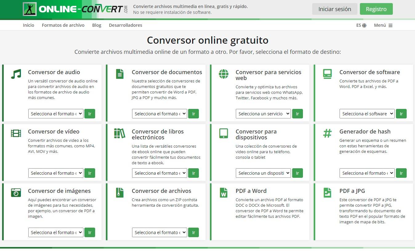 Cómo convertir de archivos online