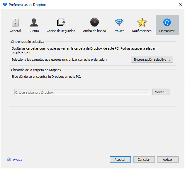 sincronizar dropbox en windows 10