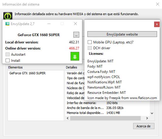 Actualizar drivers Nvidia